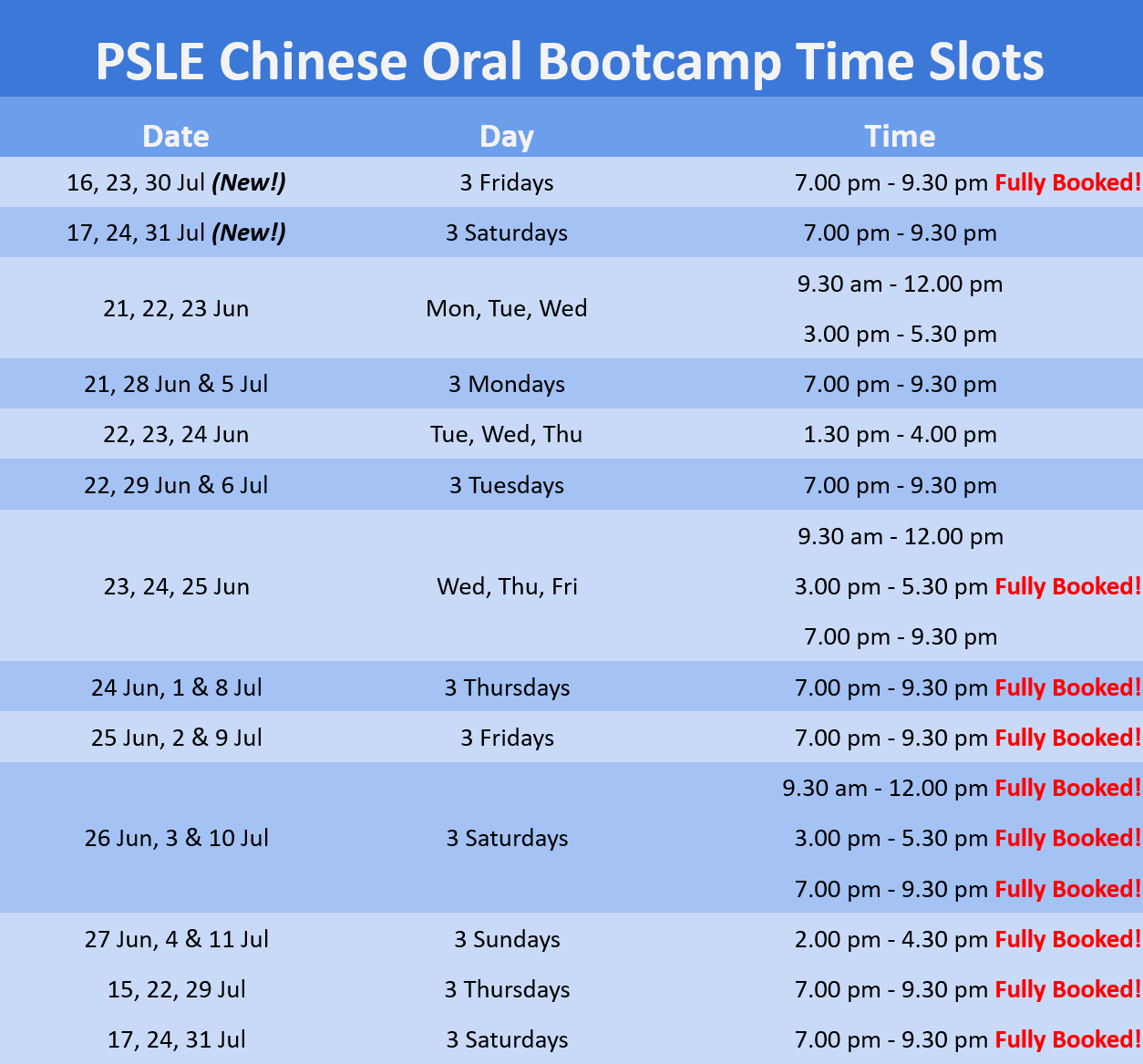 PSLE Chinese Oral Bootcamp (Mind Stretcher) timing
